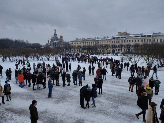 Митинг 23 января в поддержку Навального в Питере